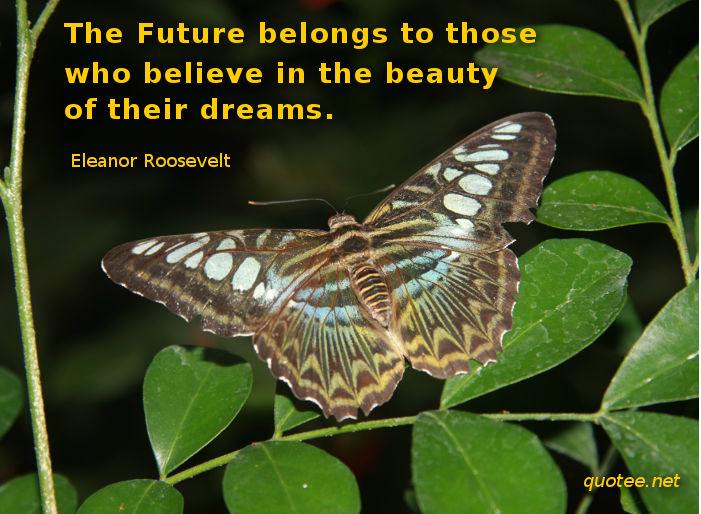 The future belongs to those who believe in the beauty of their dreams - quote Eleanor Roosevelt